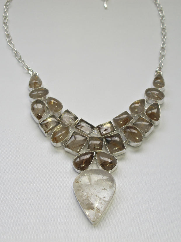 Golden Rutilated Quartz Crystal Gemstones Necklace 2