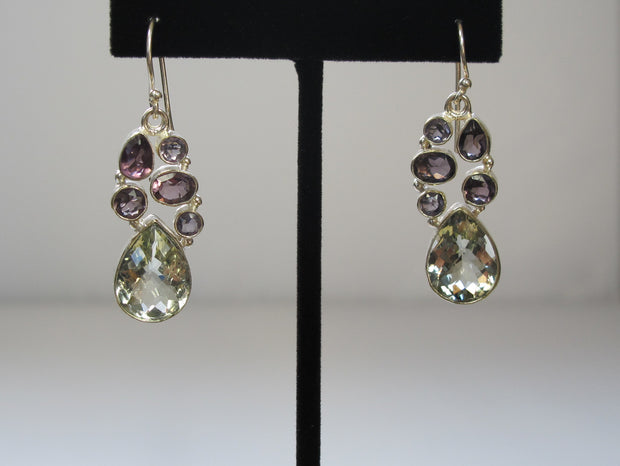 *Green Amethyst Quartz Teardrop Earring Set with Purple Amethyst