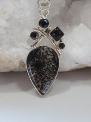 Dendritic Opal Teardrop Pendant with Onyx 2