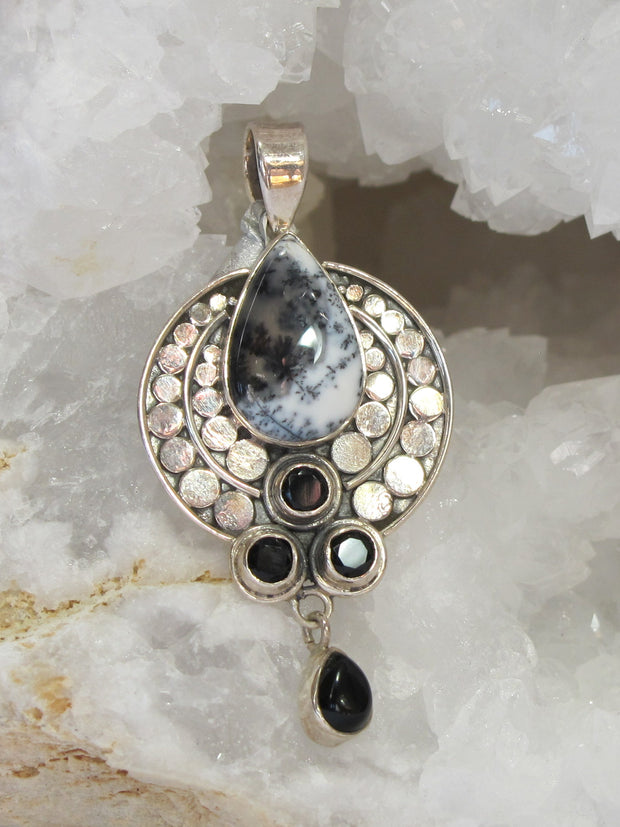 Dendritic Opal and Sterling Pendant with Onyx