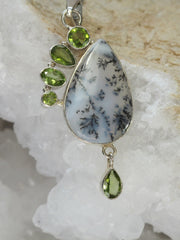 Dendritic Opal Pendant with Peridot