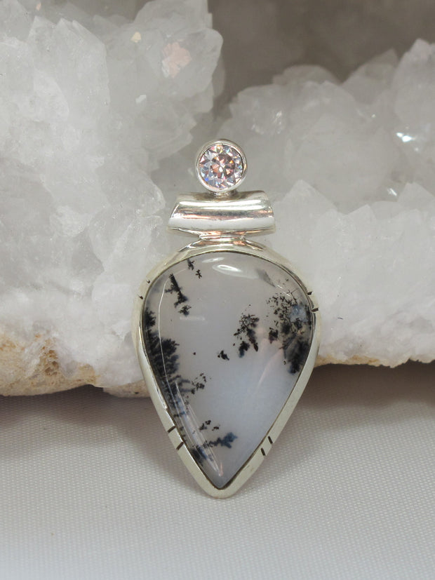 Dendritic Opal Teardrop Pendant with White Topaz