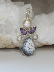 Dendritic Opal Teardrop Pendant with Amethyst Quartz and Pearl