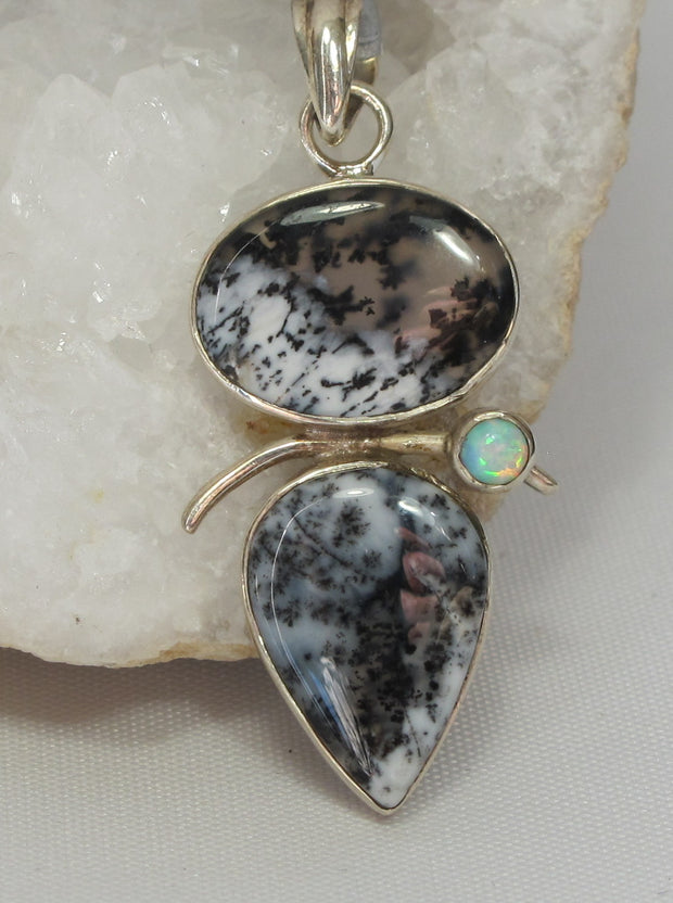 Dendritic Opal Pendant with Fire Opal 4
