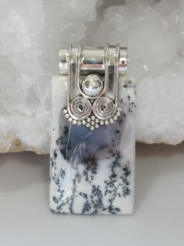 *Dendritic Opal Rectangle Pendant with Scroll