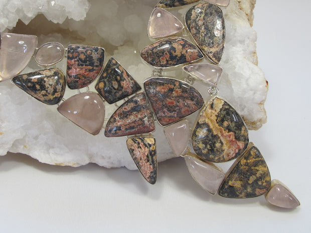 Ocean Jasper and Rose Quartz Necklace 1