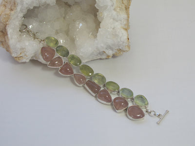 Rose Quartz and Prehnite Bracelet
