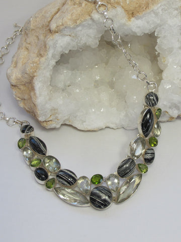 Zebra Jasper, Peridot and Green Amethyst Quartz Gemstones Necklace