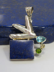 Lapis Pendant 2 with Pearl, Topaz, Citrine Quartz and Peridot
