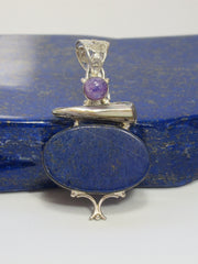 Lapis Pendant 6 with Pearl and Amethyst Quartz