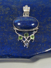 Lapis Pendant 1 with Peridot and Amethyst Quartz