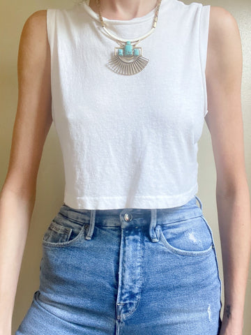 Re/done 70s Cropped muscle tank  Medium