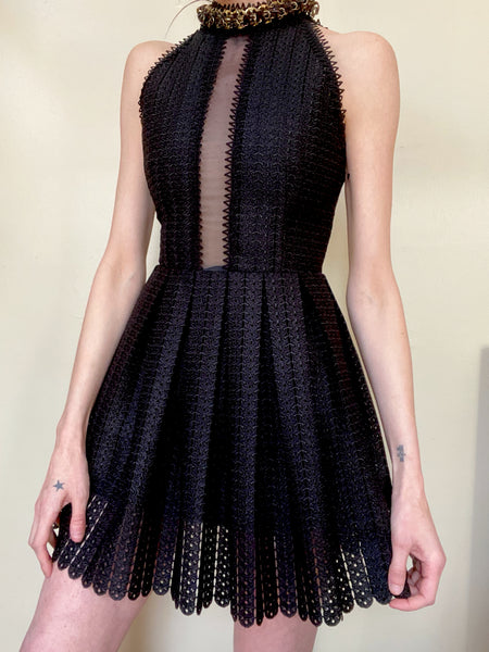 Private Collection: Paco Rabanne Spiked Collar Dress. XS/S
