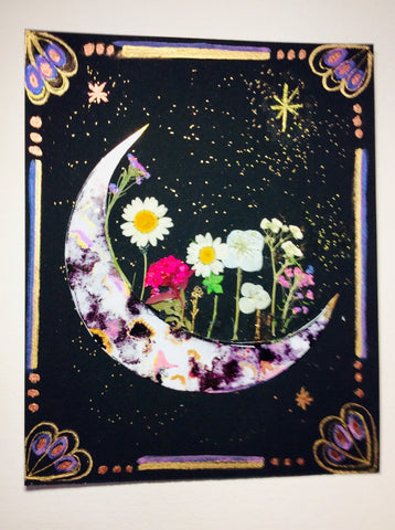 Embellished crescent moon watercolor.
