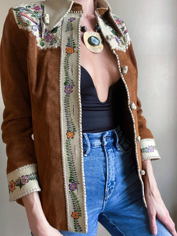 Super rare 70s suede and leather hand painted jacket. Designed by Char. Fits XS best.