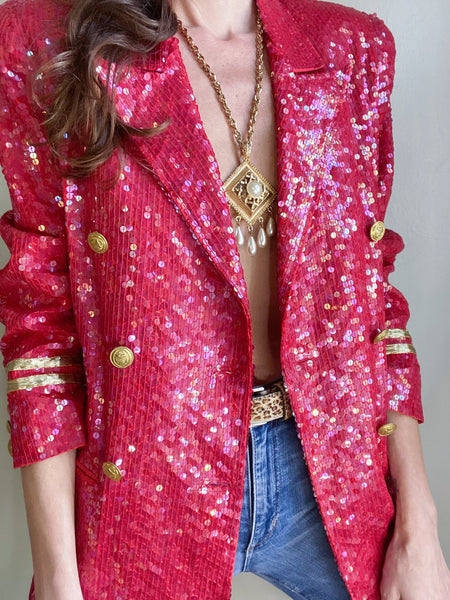 Vintage sequin military blazer. Double breasted. Light shoulder padding. Medium.