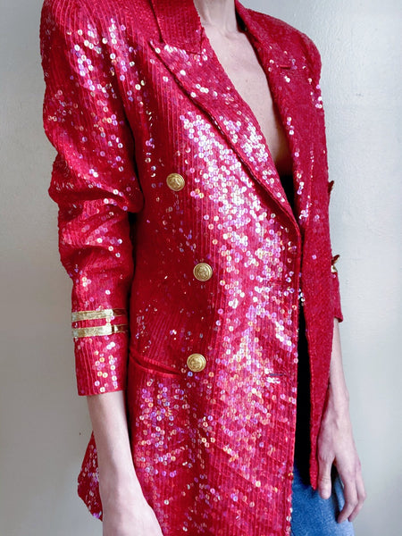 Vintage sequin military blazer. Double breasted. Medium. Light shoulder padding.