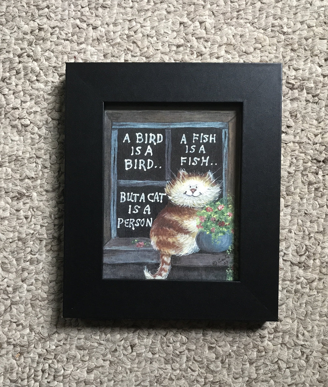 4x5 cat print framed in black