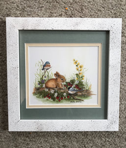Spring bunny matted and framed 8x8