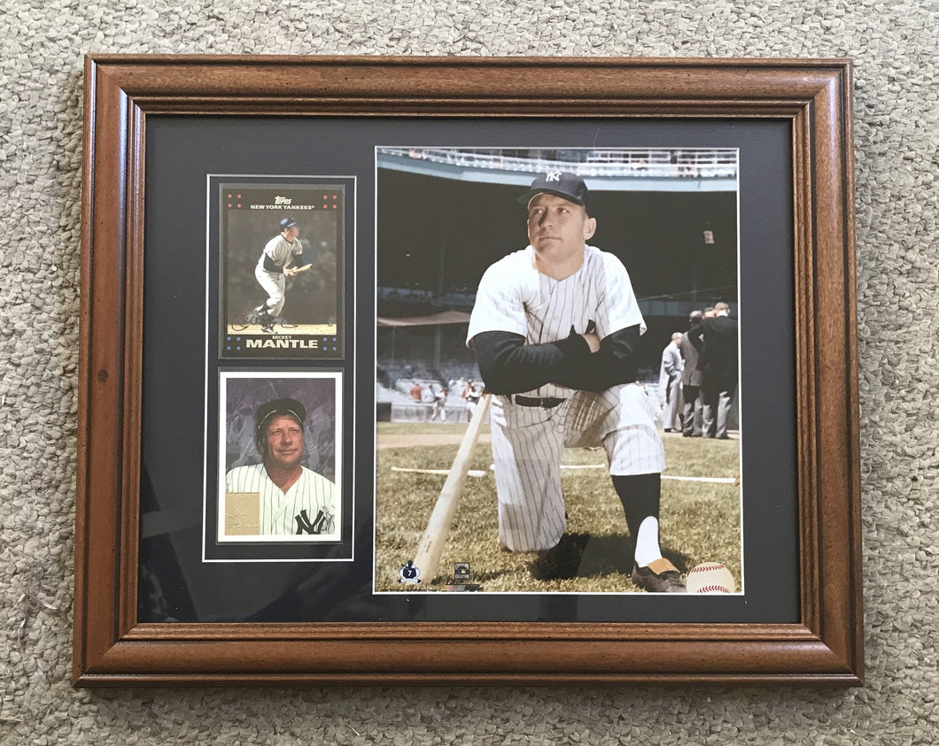 Mickey Mantle with baseball cards framed