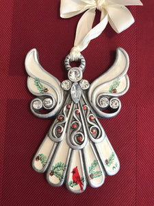 Hand painted angel with cardinal