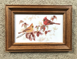 Cardinal in fall- oak frame