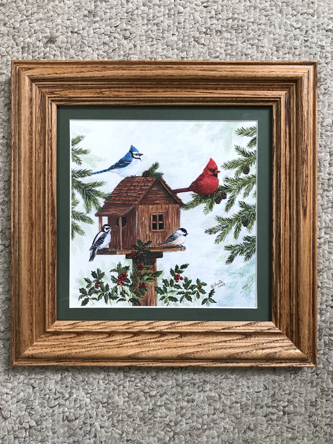 Winter scene with Cardinal 8x8 oak