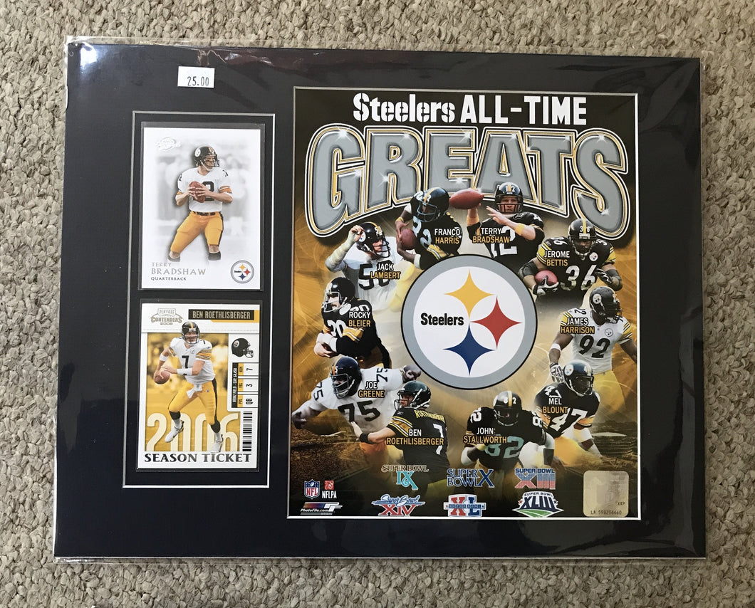 Matted Steelers Greats wit two collectors cards