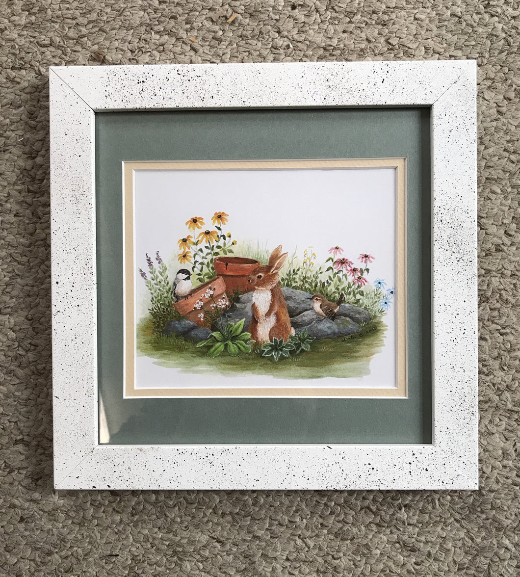 Summer bunny matted and framed 8x8