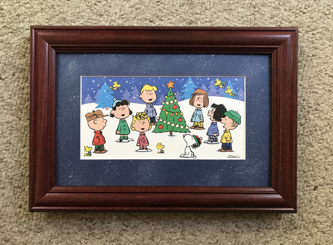 """Peanut's"" Christmas scene, matted and framed 9x12"