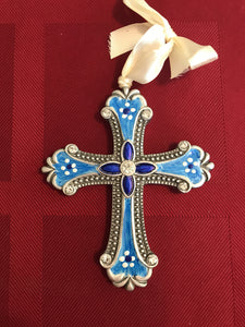 Hand painted cross in blue