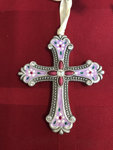 Hand painted cross in lavender