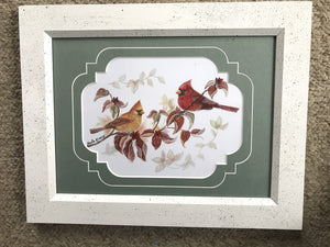 Fall Cardinals on Dogwood branch. 9x12