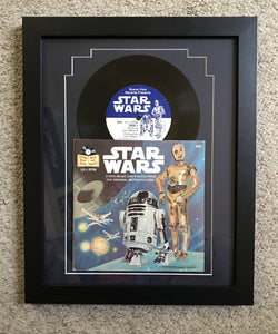 1979 Star Wars record and book matted and framed