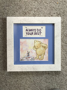 Vintage Pooh card with quote, 8x8