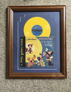 Pinocchio record matted and framed 11x14