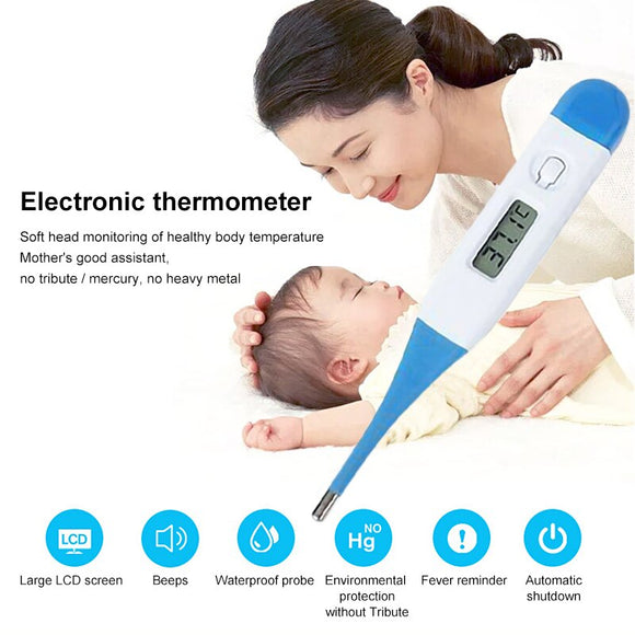 LCD Display Digital Thermometer Silicone Soft Head Mini Portable Thermometer Body Temperature Fever Measure Tool for Baby Adult