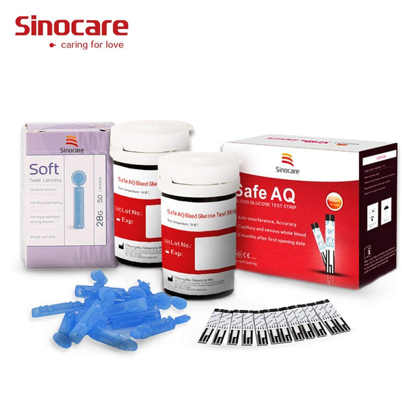 50/100pcs for Safe AQ Sinocare Blood Glucose Test Strips Needles