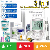 3 in 1 Blood Glucose Uric Acid Cholesterol Meter Household Glucometer Kit Diabetes Gout Tester Monitor Device Test Strip