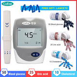 Cofoe 3 in 1 Cholesterol Monitor Uric Acid Tester Blood Glucose Meter Kit With Test Strips Lancets Diabetes Multi-Monitor Device