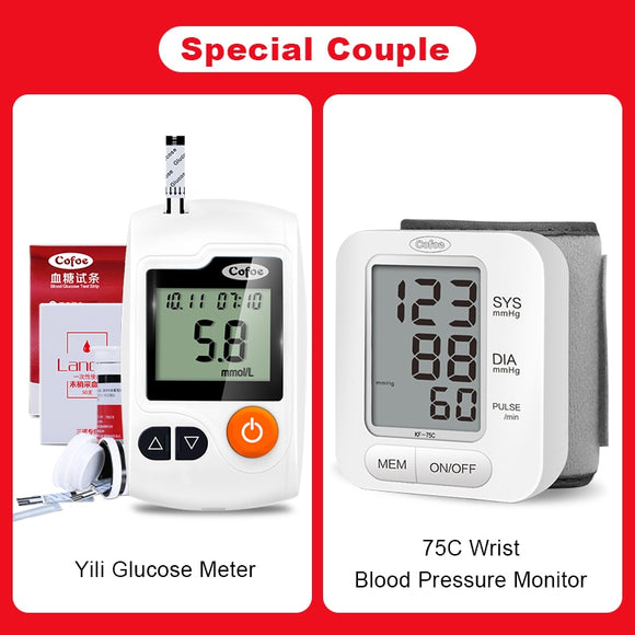 Glucose Meter/Blood Sugar Monitor with 50pcs Test Strips & Free Lancets + Digital Wrist Blood Pressure Monitor