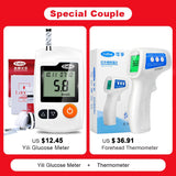 Medical Glucose Meter/Blood Sugar Monitor with 50pcs Test Strips&Lancets+Forehead Infrared Digital Baby Thermometer