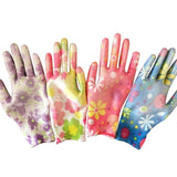 Flower Print Breathable Gardening Glove. Nylon PU Women Non-slip Housework Cleaning Gloves