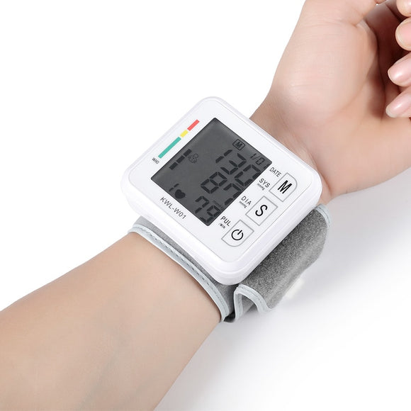 Health care wrist blood pressure monitor. Sphygmomanometer. Heart rate LED voice function
