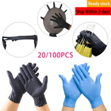 20pcs Black/Blue Disposable Gloves Universal Latex Gloves For Dishwashing/Kitchen/ /Work/Rubber/Garden Home Cleaning