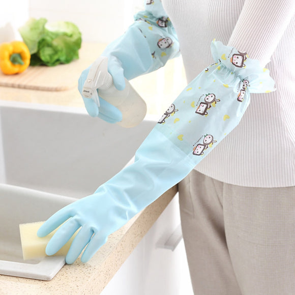 1 Pair Kitchen Plus Velvet Thicken Cleaning Gloves PVC Waterproof Non-slip Household Rubber Gloves Household Dishwashing Gloves