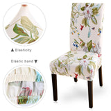Floral Print Chair Cover Dining Elastic Chair Covers Spandex Stretch Elastic Europe Style Anti-dirty Removable