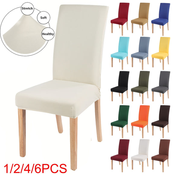 Solid Color Chair Cover Spandex Stretch Elastic Slipcovers Chair Covers