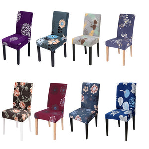 Anti-dirty Printing Chair Cover Stretch Elastic Removable Dining Seat Cover for Banquet Wedding Restaurant