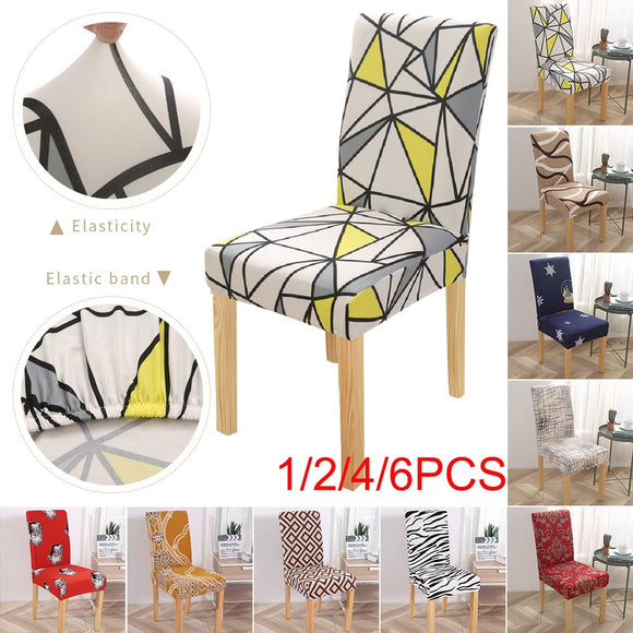 Geometric Style Home Dining Room Chair Cover Washable Stretch Seat Cover Furniture Slipcover For Party Wedding Banquet